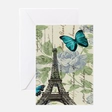floral paris vintage eiffel tower Greeting Cards