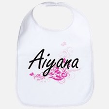 Aiyana Artistic Name Design with Flowers Bib