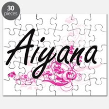 Aiyana Artistic Name Design with Flowers Puzzle