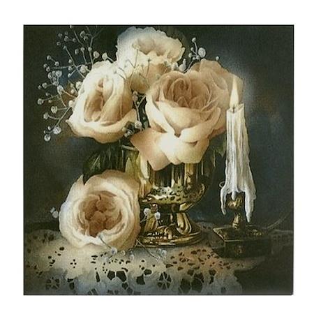 White roses Tile Coaster
