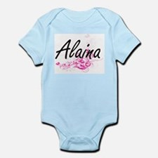 Alaina Artistic Name Design with Flowers Body Suit
