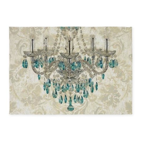 Shabby Chic Damask Vintage Chandeli 5 X7 Area Rug By Admin