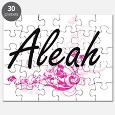 Aleah Artistic Name Design with Flowers Puzzle