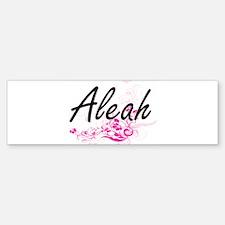 Aleah Artistic Name Design with Flo Bumper Bumper Bumper Sticker