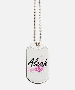 Aleah Artistic Name Design with Flowers Dog Tags