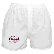 Aleah Artistic Name Design with Flowe Boxer Shorts
