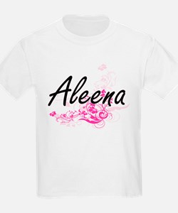Aleena Artistic Name Design with Flowers T-Shirt
