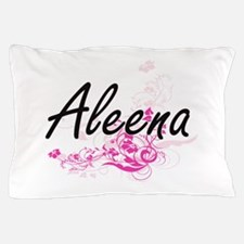 Aleena Artistic Name Design with Flowe Pillow Case