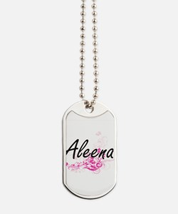Aleena Artistic Name Design with Flowers Dog Tags