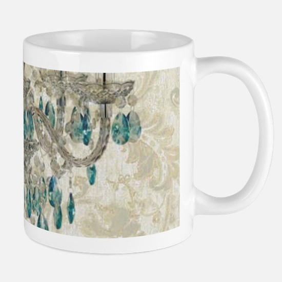 shabby chic damask vintage chandelier Mugs