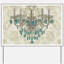 shabby chic damask vintage chandelier Yard Sign