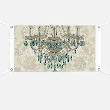 shabby chic damask vintage chandelier Banner