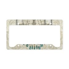 shabby chic damask vintage ch License Plate Holder