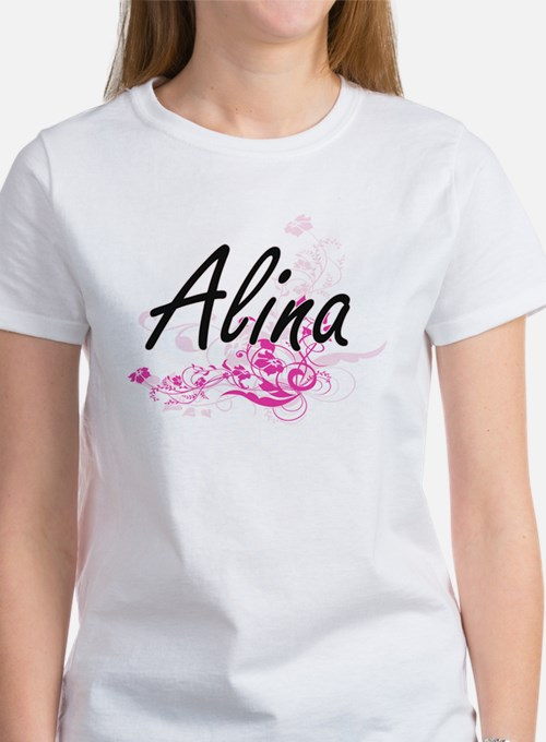 Alina Artistic Name Design with Flowers T-Shirt