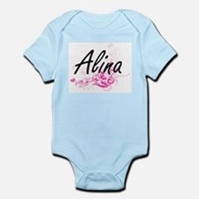 Alina Artistic Name Design with Flowers Body Suit