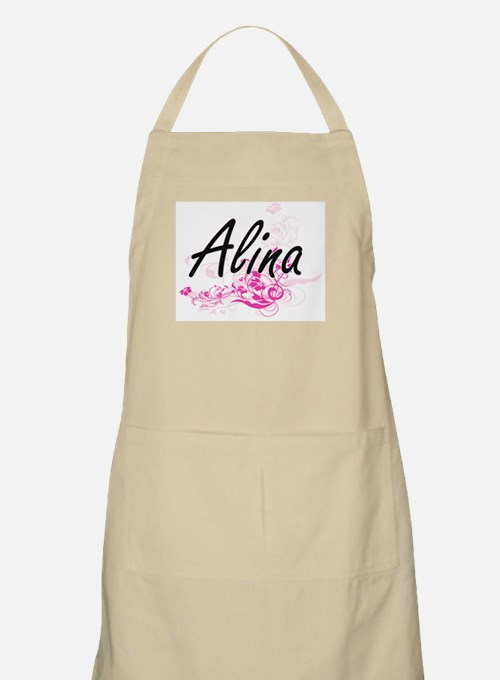 Alina Artistic Name Design with Flowers Apron