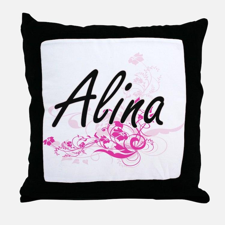 Alina Artistic Name Design with Flowe Throw Pillow