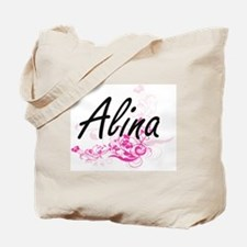 Alina Artistic Name Design with Flowers Tote Bag