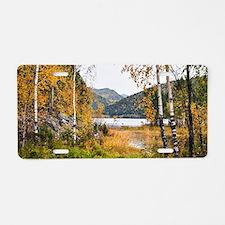 Autumn Lake View Aluminum License Plate