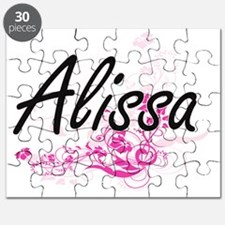 Alissa Artistic Name Design with Flowers Puzzle