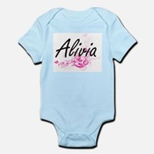 Alivia Artistic Name Design with Flowers Body Suit