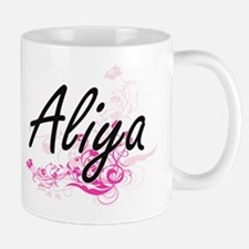 Aliya Artistic Name Design with Flowers Mugs
