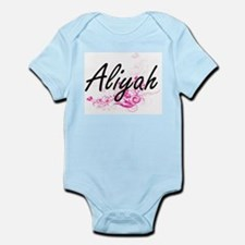 Aliyah Artistic Name Design with Flowers Body Suit