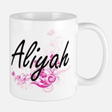 Aliyah Artistic Name Design with Flowers Mugs