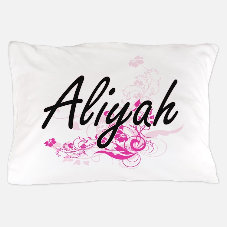 Aliyah Artistic Name Design with Flowe Pillow Case