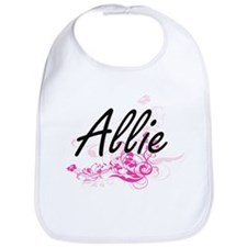 Allie Artistic Name Design with Flowers Bib