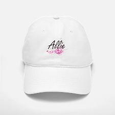 Allie Artistic Name Design with Flowers Baseball Baseball Cap