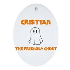 Cristian the Friendly Ghost Oval Ornament