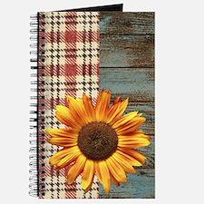 primitive country plaid burlap sunflower Journal