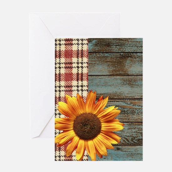 primitive country plaid burlap sunf Greeting Cards