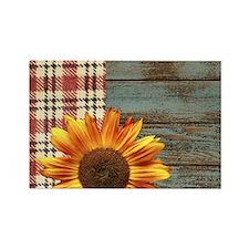 primitive country plaid burlap sunflower Magnets