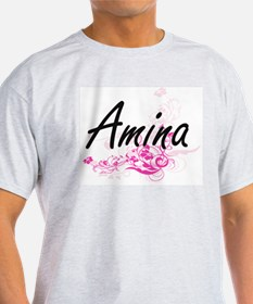 Amina Artistic Name Design with Flowers T-Shirt