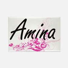 Amina Artistic Name Design with Flowers Magnets