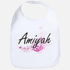 Amiyah Artistic Name Design with Flowers Bib