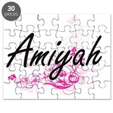 Amiyah Artistic Name Design with Flowers Puzzle