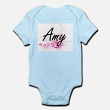 Amy Artistic Name Design with Flowers Body Suit