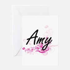 Amy Artistic Name Design with Flowe Greeting Cards