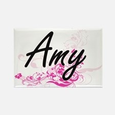 Amy Artistic Name Design with Flowers Magnets