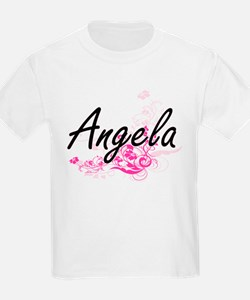 Angela Artistic Name Design with Flowers T-Shirt