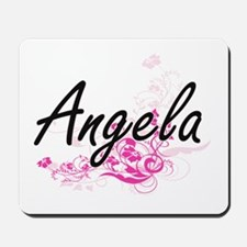 Angela Artistic Name Design with Flowers Mousepad