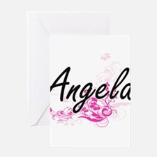 Angela Artistic Name Design with Fl Greeting Cards