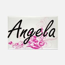 Angela Artistic Name Design with Flowers Magnets