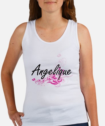 Angelique Artistic Name Design with Flowe Tank Top
