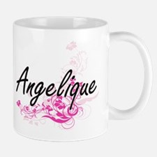 Angelique Artistic Name Design with Flowers Mugs