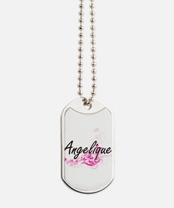 Angelique Artistic Name Design with Flowe Dog Tags