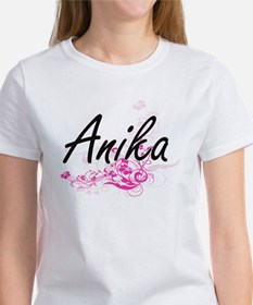 Anika Artistic Name Design with Flowers T-Shirt